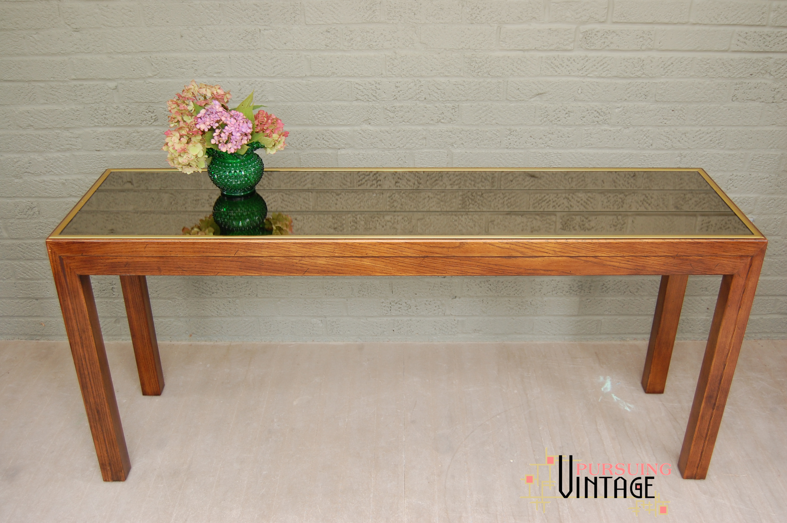 Henredon Mirror Top Oak Parsons Table