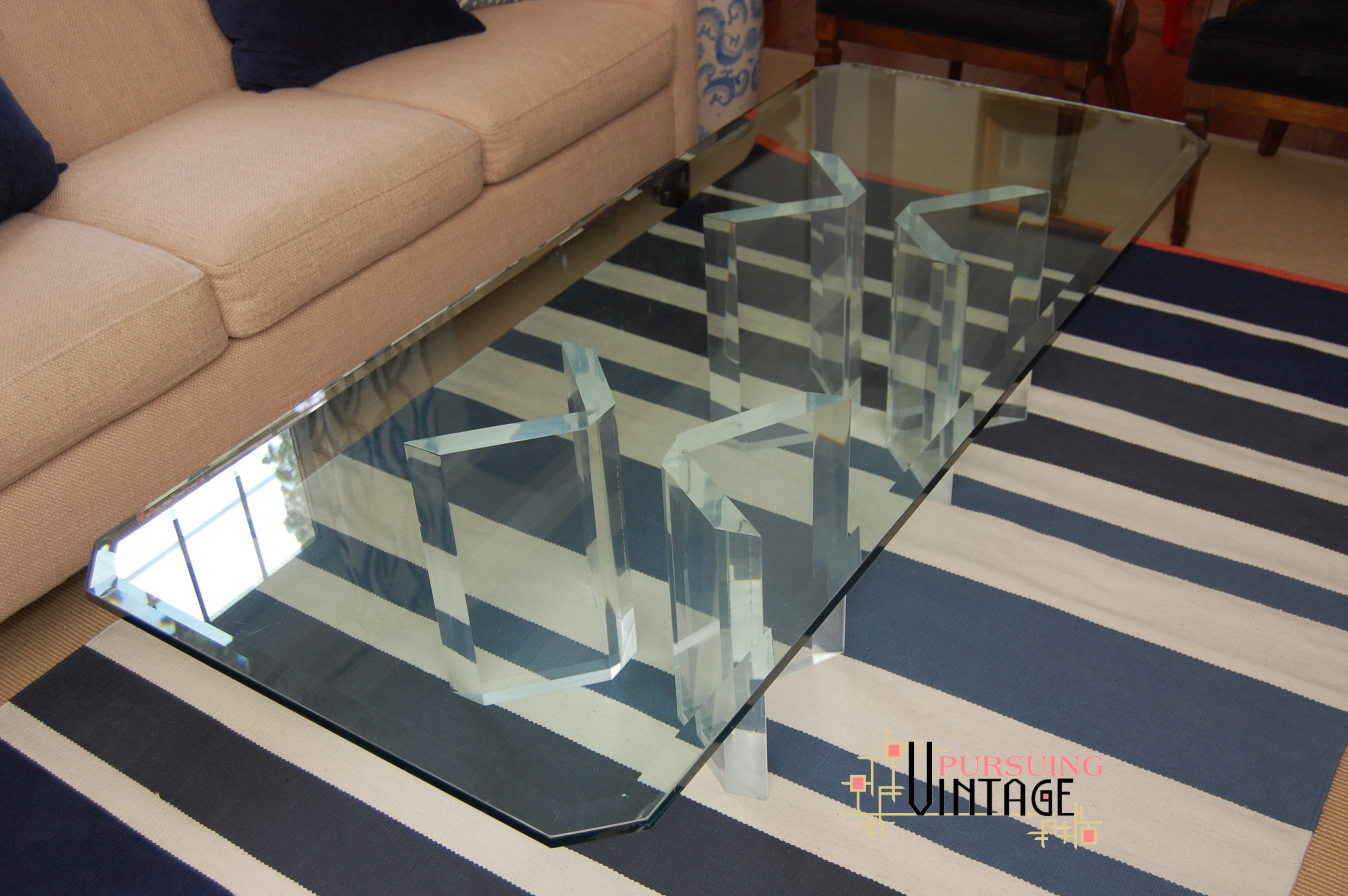 An Original Vintage Lucite and Glass Coffee Table