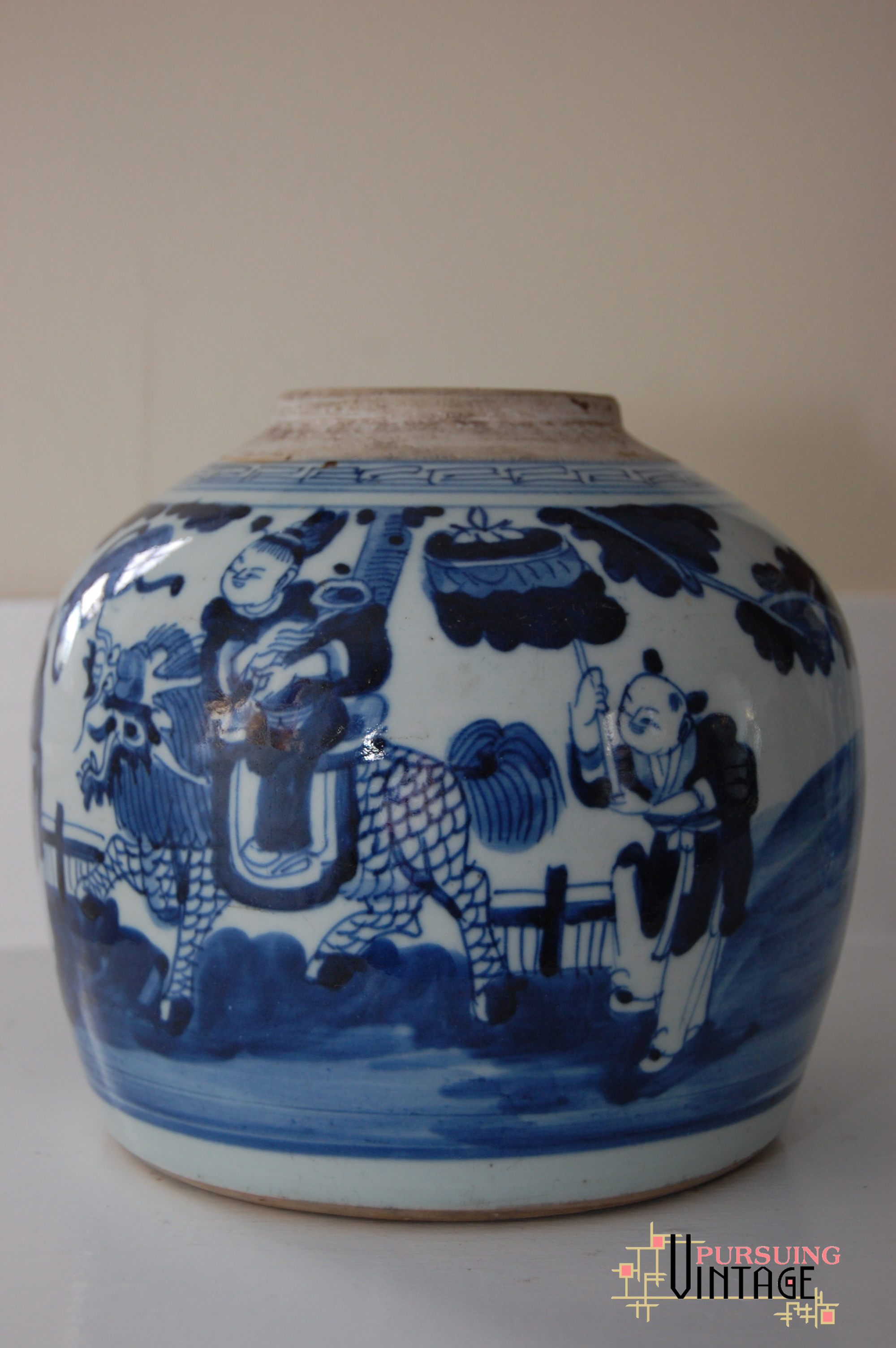 Featured find vintage chinese export blue white jar vintage chinese export figural blue white jar floridaeventfo Images