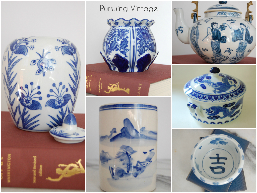 Blue  White Porcelain Available at www.pursuingvintage.com