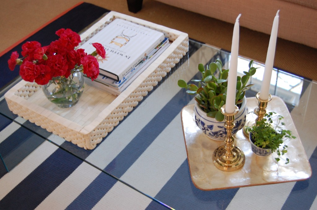 Coffee Table Styling with Blue & White // Pursuing Vintage