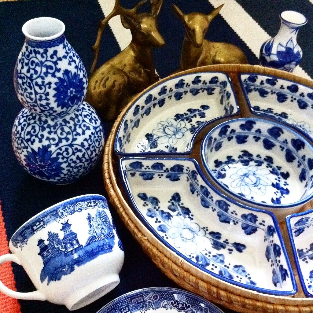 blue and white vintage goodies from Pursuing Vintage