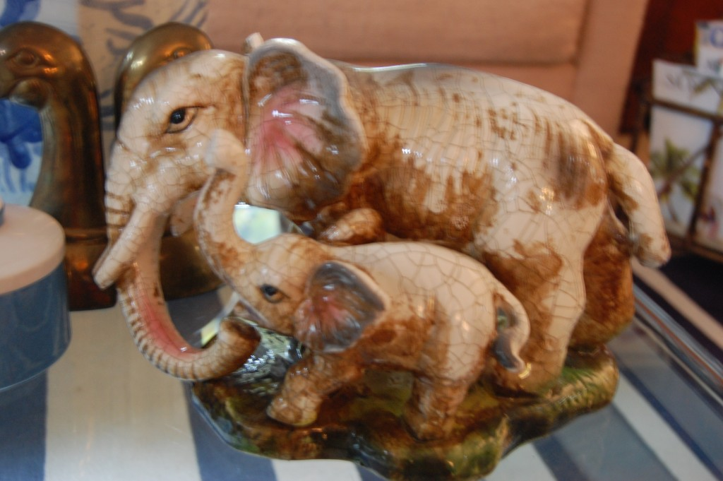 porcelain elephant family