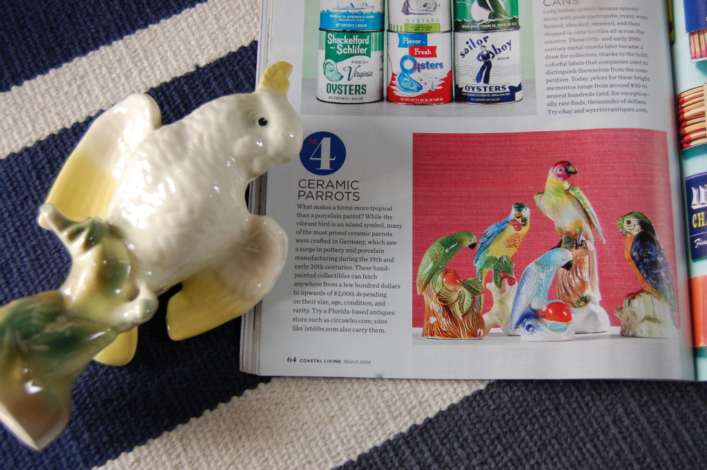 Coastal Living March 2016 / Ceramic Parrots / Pursuing Vintage